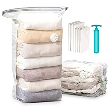 Space Saver Bags Vacuum Storage Bags Hometall Cube Vacuum Sealer Bags for Bedding Clothes Comforter Quilts Blanket 6 Pack Compression Bags for Storage(3 Jumbo & 3 Medium)with Pump