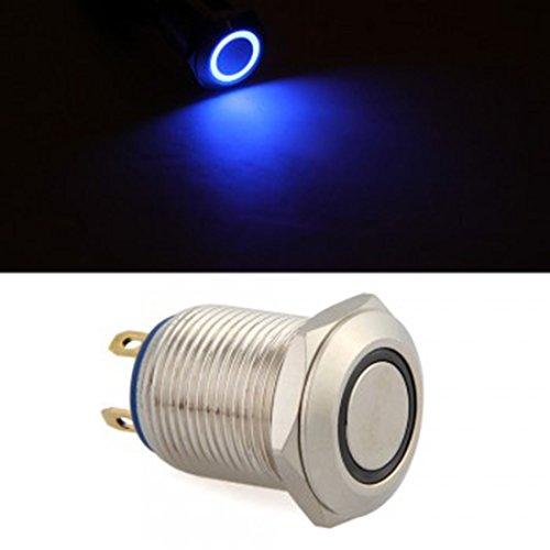 Bouton poussoir marche/arrêt momentané 12 mm 12 V pour voiture, mini LED bleue, durable