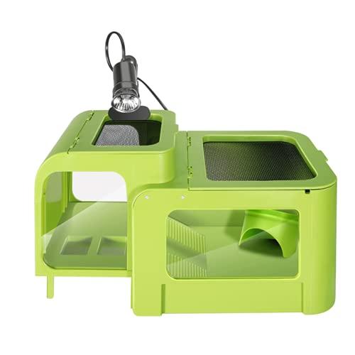 DKBE Caja de alimentación de Reptil, con solárium, Adecuado para los Animales de Sangre fría-Sangre, Tortuga, camaleón, Rana, Snake, Spider