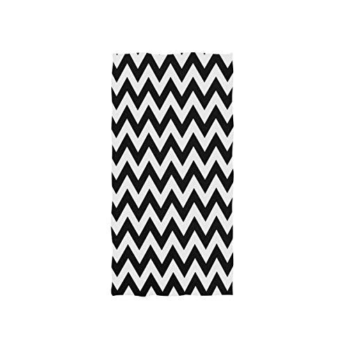 NBHBVGFC Chevron Zigzag - Toalla de baño suave (30 x 15 pulgadas), color negro y blanco