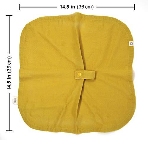 Indi by Kishu Baby – Organic Muslin Baby Blanket with Paci Holder – 100% Organic Cotton Muslin Mini Baby Blanket with Snap to Secure Baby Pacifier – Pacifier Not Included (Mustard)