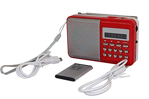 Istore FM Radio || Mini Portable Radio Speaker with SD Card Support Port || Include Aux Wire, USB Charging Cable (Multicolor)