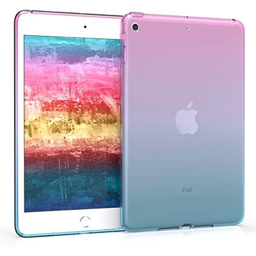 kwmobile Carcasa Compatible con Apple iPad Mini 5 (2019) - Funda para Tablet de TPU - Bicolor Rosa Fucsia/Azul/Transparente
