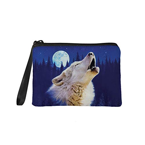 Agroupdream Coin Purse Mini Pouch Change Wallet Wolf Design Cosmetic Bag Clutch Handbag for Women Girls Kids Pencil Bags 7 * 5inch