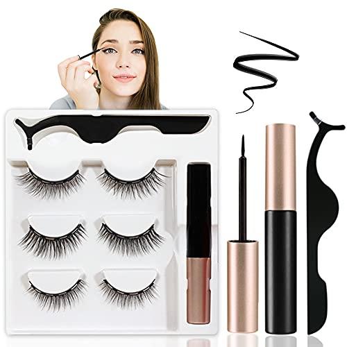 Magnetische Wimpern mit Eyeliner, 3D Künstliche Falsche Wimpern Wiederverwendbare Magnetische Wimpern Set mit Magnetische Eyeliner und Pinzette, Natürlicher Look Falsche Eyelashes - 3 Paare