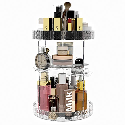 CASUN Makeup Organizer 360-Degree Rotating Adjustable Lazy Susan Acrylic Cosmetic Storage,Large Capacity Cosmetic Shelf, Transparent