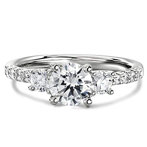 3 Stone 2ct Petite Micropavé Trio Cubic Zirconia CZ Engagement Rings Rhodium Plated Sterling Silver Rings|Ideal Cut, D-E Color, FL Clarity