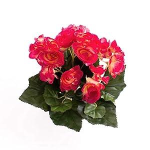 artplants.de Begonia Artificial con 27 Hojas, 9 Flores, Fucsia, 20cm, Ø 20cm – Flor Decorativa – Planta sintética