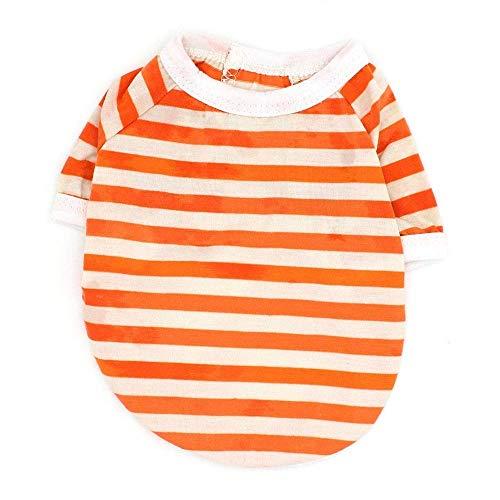 Fenghua klassiek strepen-T-shirt voor huisdieren, schattig vest, zomerjurk, korte mouw, oranje, XS