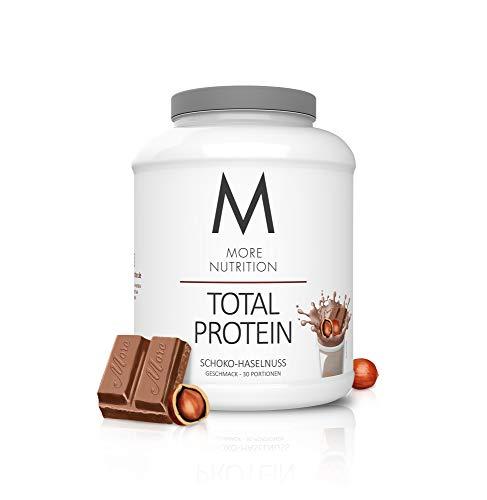 MORE NUTRITION Total Protein (1 x 1500 g) - Whey Eiweißpulver mit Casein, Aminosäuren und Laktase für Muskelaufbau (Schoko Haselnuss)