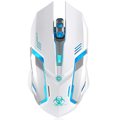 Wireless Gaming Mouse, VEGCOO C8 Silent Click Wireless Rechargeable Mouse with Colorful LED Lights and 2400/1600/1000 DPI 400mah Lithium Battery for Laptop and Computer (C9N White)