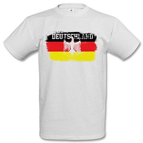 Männersport.de EM 2016 Deutschland Fahne Deutschland T-Shirt Europameisterschaft 2016, Größe:XL;Farbe:weiß
