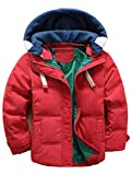 Odziezet Kids Winter Down Coat Boys Girls Autumn Warm Hooded Quilted Puffer Parka Jacket 4-13 Years Red
