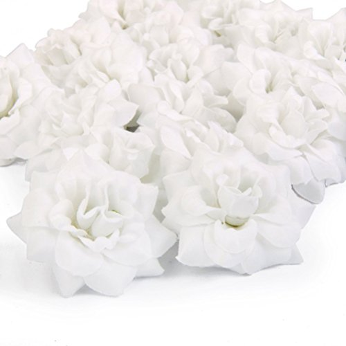 Fenical Kunstblumen Künstliche Rosen Weiß Rose Köpfe Hochzeit Dekoration Kunstrose 50 Stück