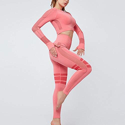 RRUI Panty voor dames, leggings voor yoga, gebreid, naadloos, herfst en winter, spandex, fitness, dames, yoga-pak, grijs, maat M