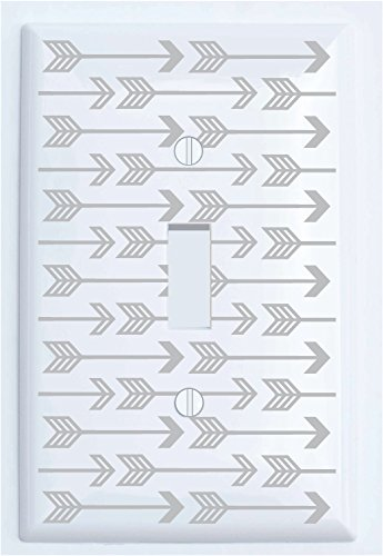 Single Toggle Grey Arrow Print Light Switch Plate Covers/Grey Woodland Nursery Decor for Baby Boys or Girls (Single Toggle)