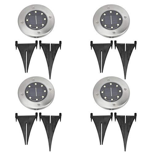 Fdit Buried Light, 4 Piezas 8LED Lámpara enterrada Luces solares Impermeables para el Suelo Ángulo de emisión de luz de 120 ° Iluminación Exterior para jardín, Patio, Patio, Camino, césped