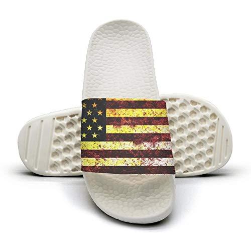 Sansalsk2 Beautiful Women Best Slipper USA Flag American Grunge White Memory Foam Open Toe Flat Slide Slippers