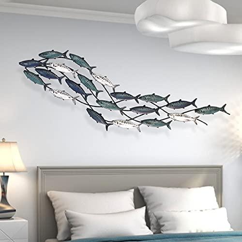ANYURAN Metal Fish Wall Decor, Aqua Theme Metal Wall Sculpture Marine Decor for Home Garden...