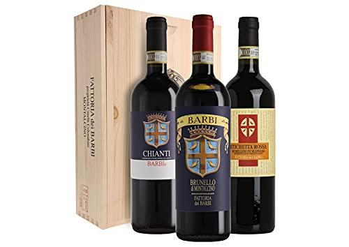 Cassetta da 3 bottiglie: Brunello di Montalcino, Chianti, Morellino di Scansano Fattoria dei Barbi 0,75 L Cassetta di legno