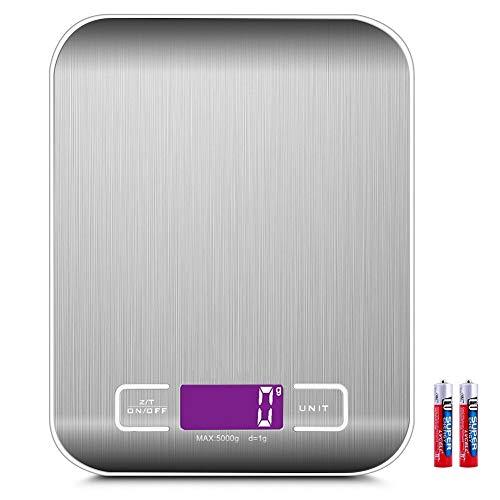 Bilancia da Cucina Digitale con Funzione Tare, 5kg/11lb Professionale Acciaio Inox Alta Precision Bilancia Elettronica per la Casa e la Cucina, Batterie Incluse(Argento)