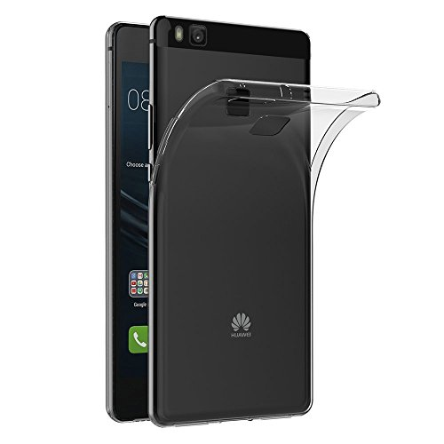 REY Funda Carcasa Gel Transparente para Huawei P9 Lite Ultra Fina 0,33mm, Silicona TPU de Alta Resistencia y Flexibilidad