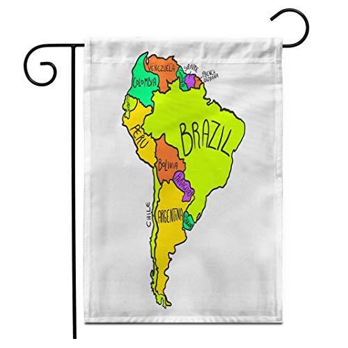 12,5 'x 18' Gartenflagge Bunte Reise Cartoon Karte von Südamerika Bolivien Brasilien Outdoor Doppelseitige dekorative Haus Hof Flaggen