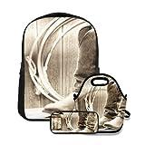 Conjunto de mochila escolar,American West Rodeo Cowboy cuero tradicional ranchero de trabajo botas Roper Vintage Wood Barn,con bolsa de almuerzo y estuche para lápices para mochila para adolescentes