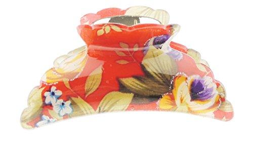 Glamour Girlz Pince à cheveux pour femmes et filles, motif floral rose, bégonia, 9 cm, rouge