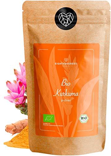 BIO Kurkuma Pulver - 100% reines Kurkumapulver gemahlen aus Indien - Rohkostqualität - Curcuma Gewürz, Turmeric - für Goldene Milch, Curcuma Latte, Paste   3% Curcumin   80degrees (1000g)