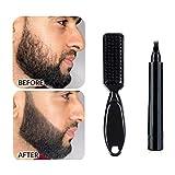 Relleno de lápiz de barba para hombres, a prueba de agua, de larga duración, kit de bolígrafo de relleno de barba para cuentas, bigotes y cejas, herramienta de peluquería (negro)