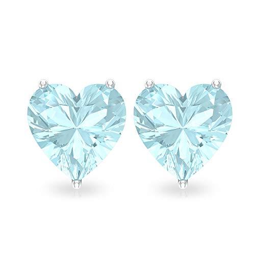 Pendiente con diseño de topacio azul de 3 quilates, certificado SGL en forma de corazón, declaración de dama de honor, pendientes de boda solitario 18K Oro rosa, Par