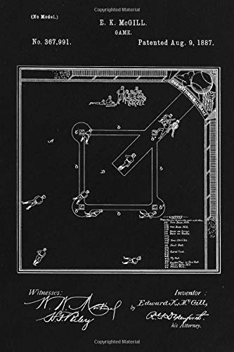 Journal: Baseball Board Game Patent Ruled Diary for Writing and Notes (6 x 9) 120 Pages, Soft Cover