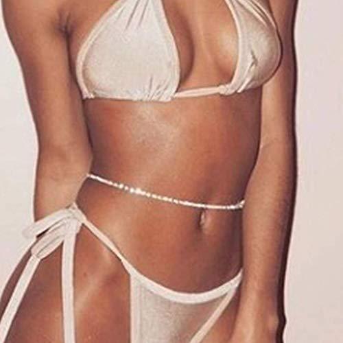 Simsly Beach Strass Taille Kette Körper Bauchkette Silber Schmuck Accessoires für Frauen und Mädchen (Silber)