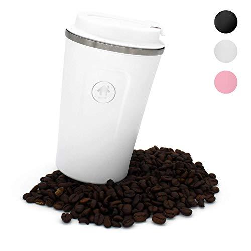 homeAct Thermobecher Kaffeebecher für unterwegs Coffee to go 380ml | 100% auslaufsicher aus Edelstahl mit Doppelwand Isolierung | BPA freier Travel Mug für Kaffee oder Tee (Weiß)