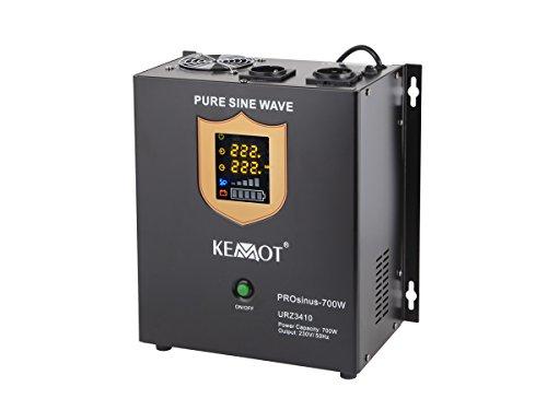 Notstromversorgung KEMOT PROsinus-700 URZ3410 Wechselrichter reiner Sinus Ladefunktion 12V 230V 1000VA/700W, schwarz