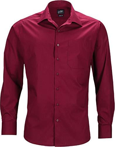 James & Nicholson Men's Business Shirt Longsleeve Camisa de Oficina, Vino Tinto (Wine), XL para Hombre 🔥