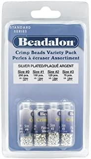 Artistic Wire Beadalon Crimp Bead Variety Pack #0-3 Silver, Plated, 600-Piece