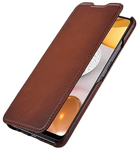 StilGut Book Hülle kompatibel mit Samsung Galaxy A42 5G Hülle aus Leder zum Klappen, Klapphülle, Handyhülle, Lederhülle - Cognac Antik