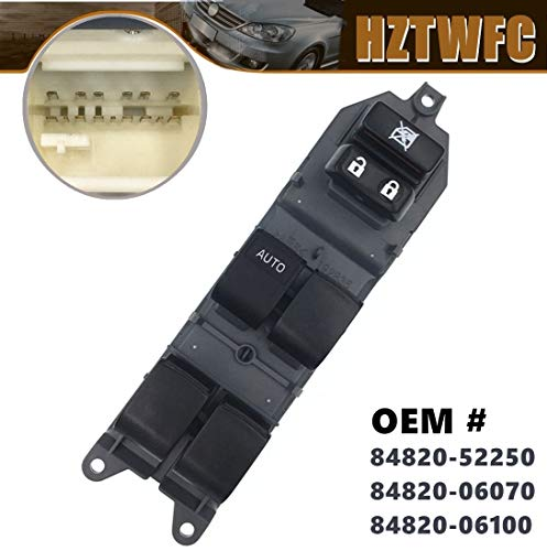 HZTWFC Commutateur de vitre électrique gauche OEM # 84820-52250 84820-06070 84820-06100 pour Toyota Yaris Camry Corolla RAV4