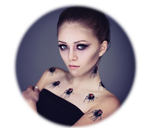 Tattoocrew® 6 x Halloween Tattoos Spinnen temporär zum Aufkleben