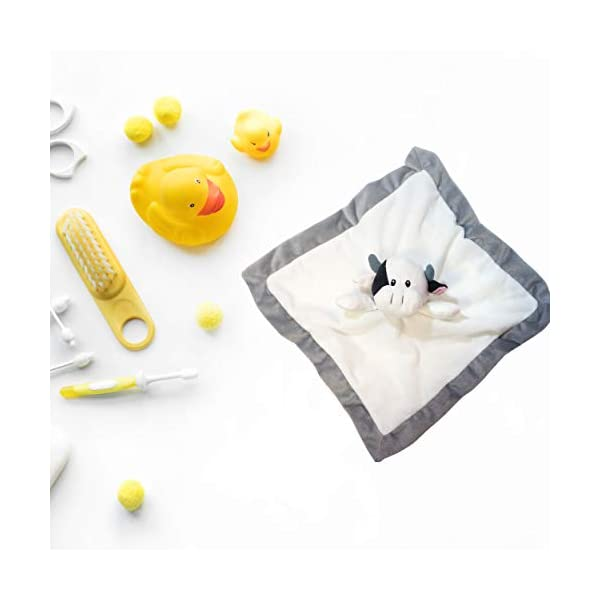 Lovey Security Blanket 12 inch Square Stuffed Animal Baby Blankie for Girls or Boys (Cow) by Baberoo