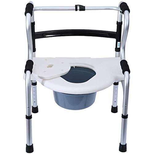 KEDUODUO Klappbarer Bariatrische Toilettenstuhl Multifunktionale ältere Wanderhilfe Bettstößel-Commode Sitzhöhe einstellbar mit Sicherheits-Aluminiumlegierungsrahmen