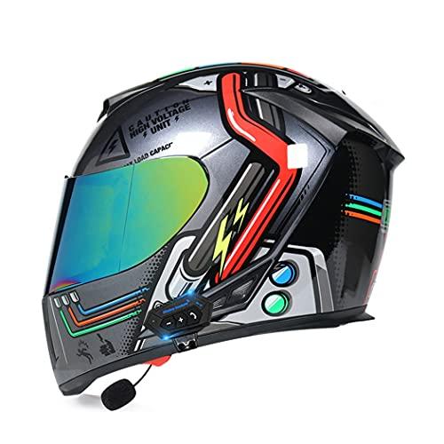 Smilfree Hombres Y Mujeres Bluetooth Cara Completa Motocicleta Dot/ECE Ciclomotor Certificado Casco Carreras Callejeras Casco De Motocicleta con Visera Solar Dual con Bluetooth (55~64cm)