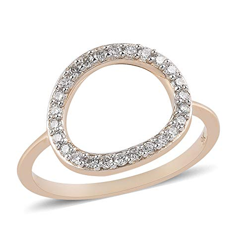 RACHEL GALLEY White Diamond I1/G-H Circle Ring for Womens Designer Partyware Gift Jewellery in 9ct Yellow Gold SGL Certified Size Q April Birthstone, TCW 0.25ct.