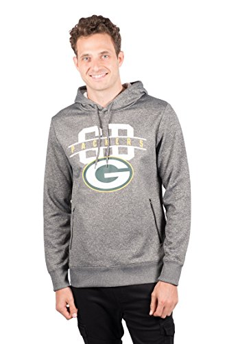 Ultra Game NFL Green Bay Packers Mens Fleece Hoodie Pullover Sweatshirt Zipper Pocket, Charcoal Heather, X-Large