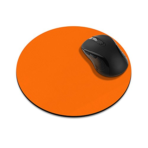 Non-Slip Round Mousepad, FINCIBO Solid Orange Mouse Pad for Home, Office and Gaming Desk