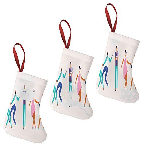 FULIYA Calcetín de Navidad colorido juego de 3 medias, Papá Noel, reno y muñeco de nieve, calcetines colgantes para chimenea y decoración de Navidad para el hogar