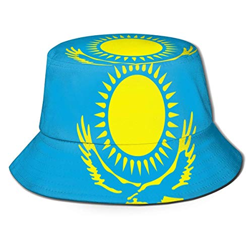 Sombrero de Cubo Mujeres Hombres Sombrero de Cubo de ala Ancha al Aire Libre Protección Solar Gorra de Pescador Águila Sol Bandera de Kazajstán Azul