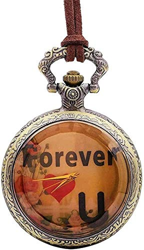 NC198 Collar Collar Americana Reloj de Bolsillo Retro para Parejas Siempre te amará Reloj de Bolsillo con Letras Collar para Mujeres Hombres Collar de Regalo